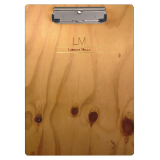 elegant & rustic wood texture personalized clipboard