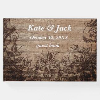 Elegant Rustic Wood Vintage Wedding Guest Book