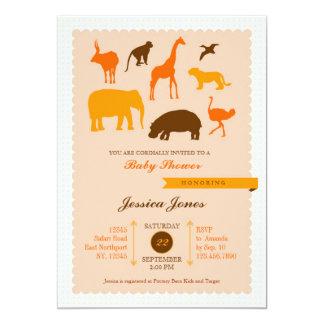 "Elegant Safari Animals Baby Shower Invitation 5"" X 7"" Invitation Card"