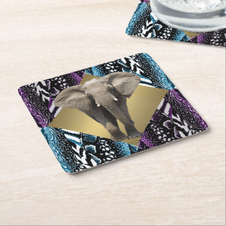 Elegant Safari with Elephant Square Paper Coaster