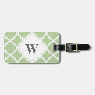 Elegant Sage and White Quatrefoil Monogram Luggage Tag