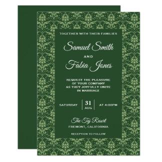 Elegant Sage Green Damask Wedding Invitation