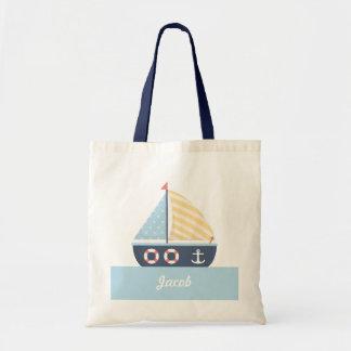 Elegant Sail boat Nautical Theme For Boys Tote Bag