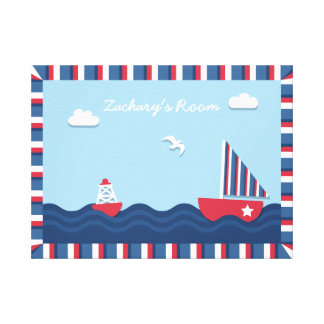 Elegant Sail boat Nautical Theme, For Kids Room Gallery Wrapped Canvas
