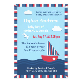 Elegant Sailboat Nautical baby shower party Card