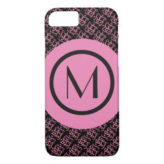 Elegant Salmon & Pink Parisian Initial Monogram Case-Mate iPhone Case