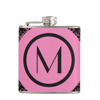 Elegant Salmon & Pink Parisian Initial Monogram Hip Flask