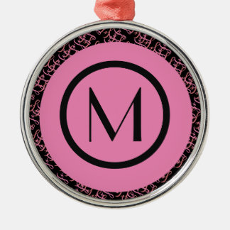 Elegant Salmon & Pink Parisian Initial Monogram Metal Ornament