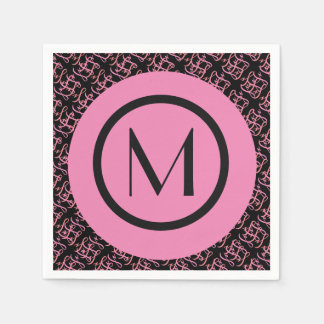 Elegant Salmon & Pink Parisian Initial Monogram Paper Napkin