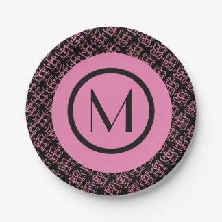Elegant Salmon & Pink Parisian Initial Monogram Paper Plate