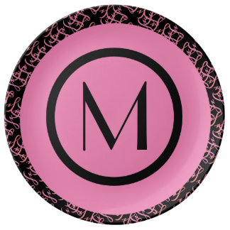 Elegant Salmon & Pink Parisian Initial Monogram Plate
