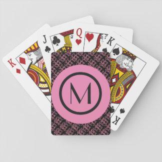 Elegant Salmon & Pink Parisian Initial Monogram Playing Cards