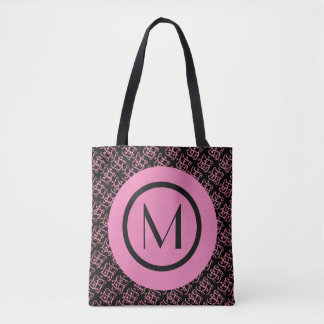 Elegant Salmon & Pink Parisian Initial Monogram Tote Bag