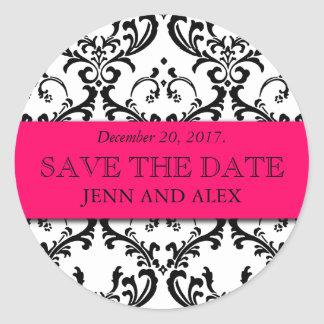 Elegant Save the Date Damask Stickers Hot Pink