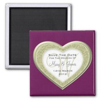 Elegant Save The Date Glitter Heart Gold Purple Square Magnet