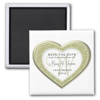 Elegant Save The Date Glitter Heart  Gold White Square Magnet