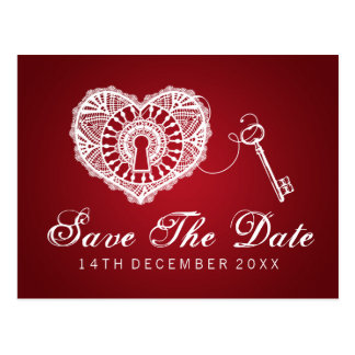 Elegant Save The Date Key To My Heart Red Postcard