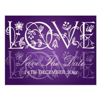 Elegant Save The Date Love Flourish Purple Postcard