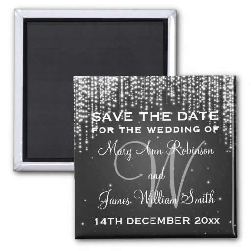 Elegant Save The Date Night Dazzle Black Refrigerator Magnets