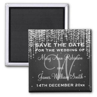 Elegant Save The Date Night Dazzle Black Square Magnet