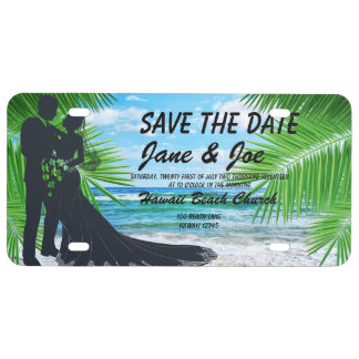 Elegant Save The Date Plastic Lincense Plate