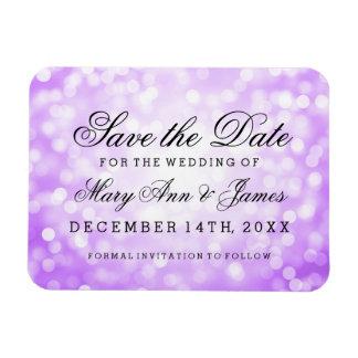 Elegant Save The Date Purple Glitter Lights Magnet