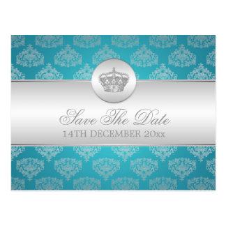 Elegant Save The Date Royal Crown Blue Post Card