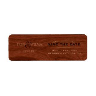 Elegant Save the Date Rustic Wood Western Wedding Return Address Label