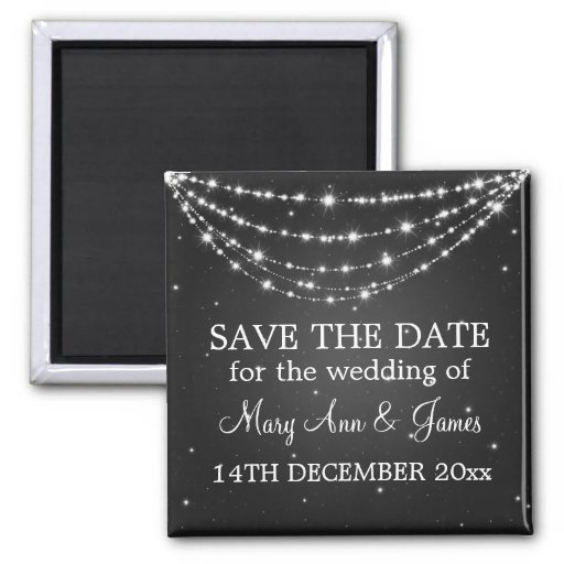 Elegant Save The Date Sparkling Chain Black Magnets