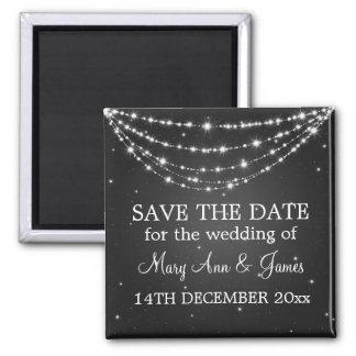 Elegant Save The Date Sparkling Chain Black Square Magnet