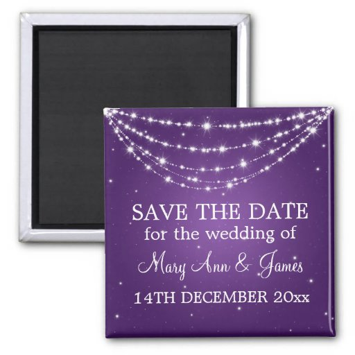 Elegant Save The Date Sparkling Chain Purple Magnet