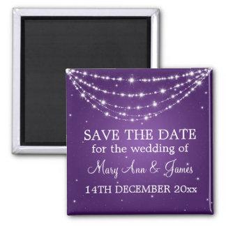 Elegant Save The Date Sparkling Chain Purple Square Magnet