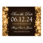 Elegant Save The Date Sparkling Lights Gold Post Card