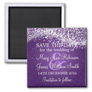 Elegant Save The Date Sparkling Wave Purple Magnet