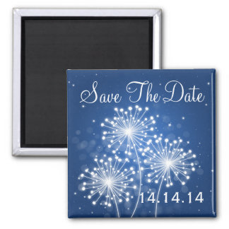 Elegant Save The Date Summer Sparkle Sapphire Blue Magnet