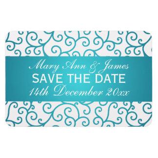 Elegant Save The Date Swirls Pattern Aqua Blue Magnet