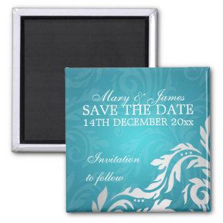 Elegant Save The Date Swirly Flourish Aqua Blue Magnet