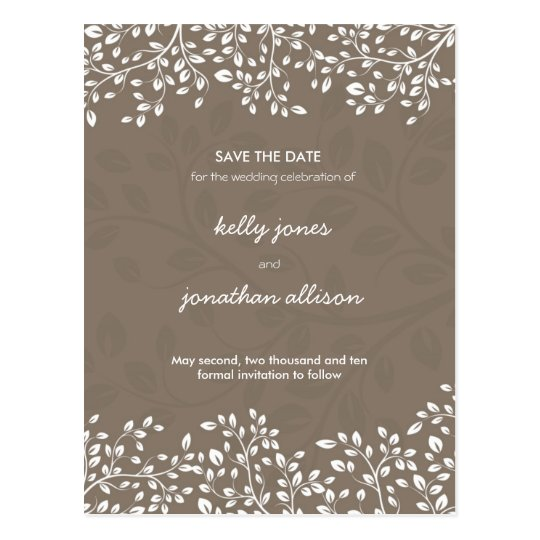 Elegant Save the Date Wedding Invitation Postcard