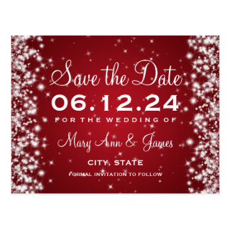 Elegant Save The Date Winter Sparkle Red Postcard