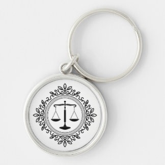 Elegant Scales of Justice Keychain
