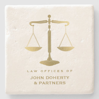 Elegant Scales of Justice | Law Gifts Stone Coaster