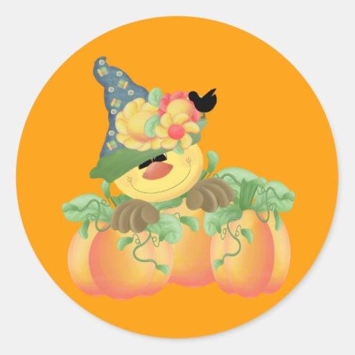 Elegant Scarecrow Round Sticker