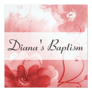 Elegant Scarlet and Gray Flower Baptism Invitation