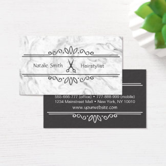 Elegant Scissors Hairstylist Business Cards