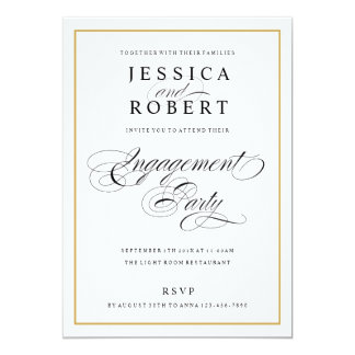 Elegant Script and Gold Border Engagement Party Card