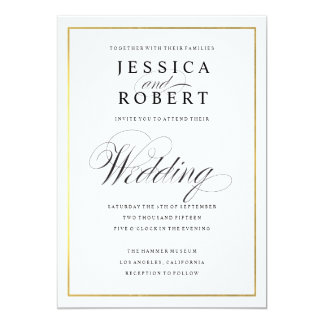 Elegant Script and Gold Border Wedding Invitation