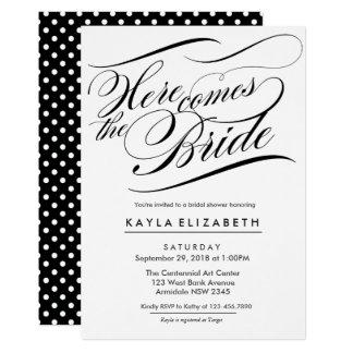 Elegant script bridal shower card