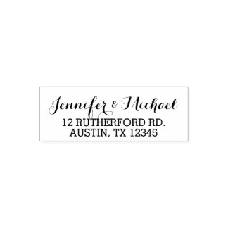 Elegant Script Custom Wedding Bride Groom Names Self-inking Stamp