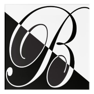Elegant Script Flourish Letter B Acrylic Wall Art