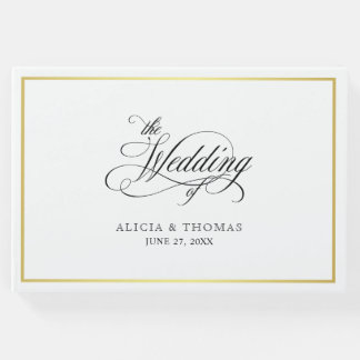 Elegant Script Flourishes Calligraphy Wedding Guest Book